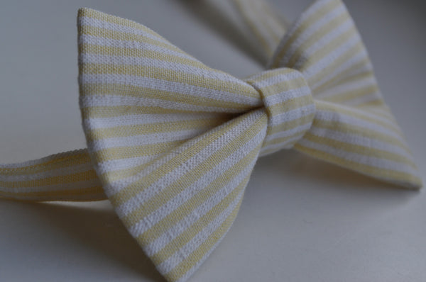 Yellow & White Striped Seersucker Bow Tie - Dapper Guy Bow Ties - 3
