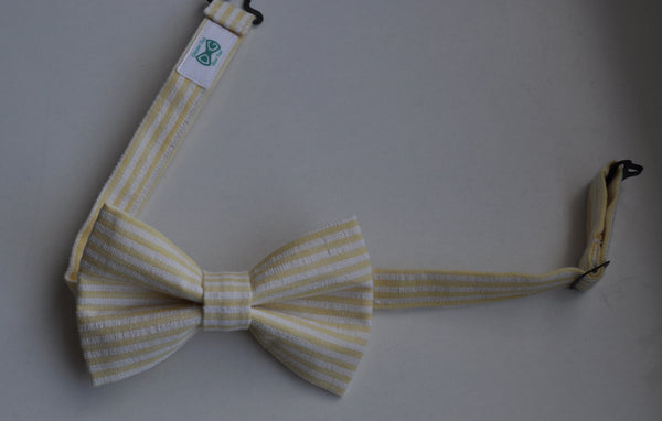 Yellow & White Striped Seersucker Bow Tie - Dapper Guy Bow Ties - 4