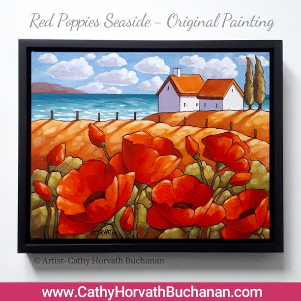 NEW in my shops, 'Red Poppies Seaside' original painting
