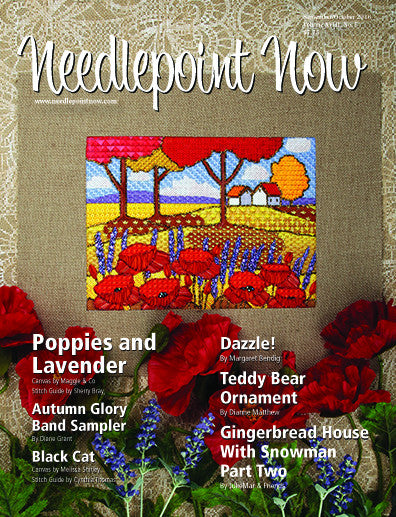 "My art as needlepoint on the cover of ""Needlepoint Now"" magazine"