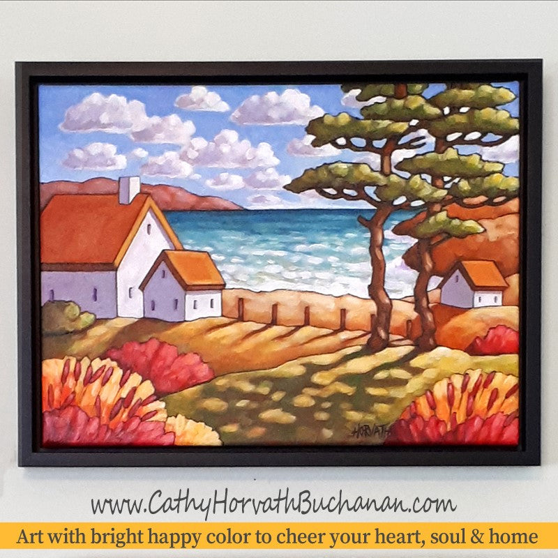 NEW in my shops, 'Seaside Garden Cottage' original painting