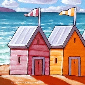 Beach huts painting detail