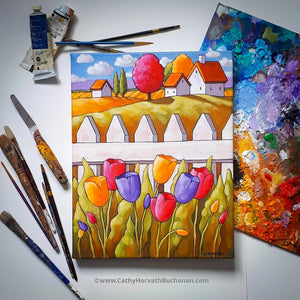 Spring tulips painting