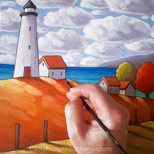 Coastal Lighthouse Cottage View, original painting