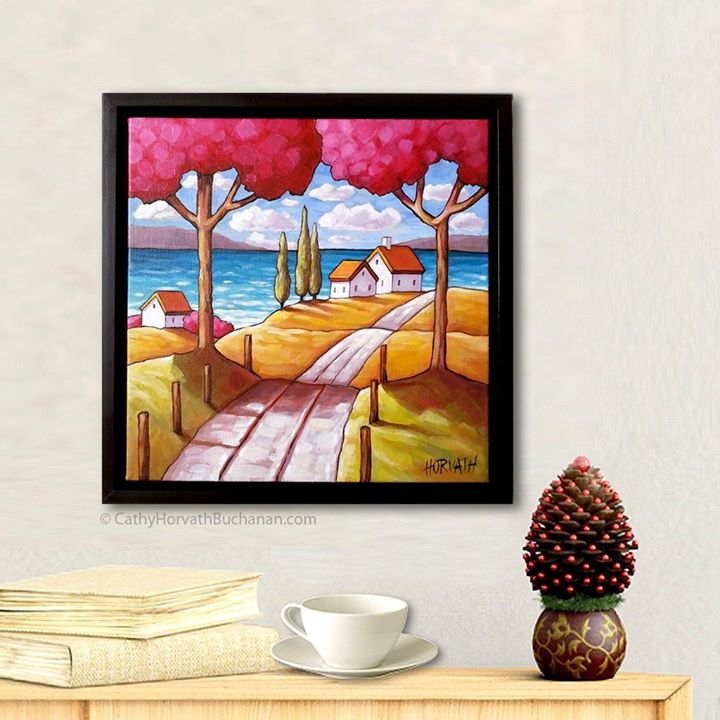 Pink trees beach view original painting