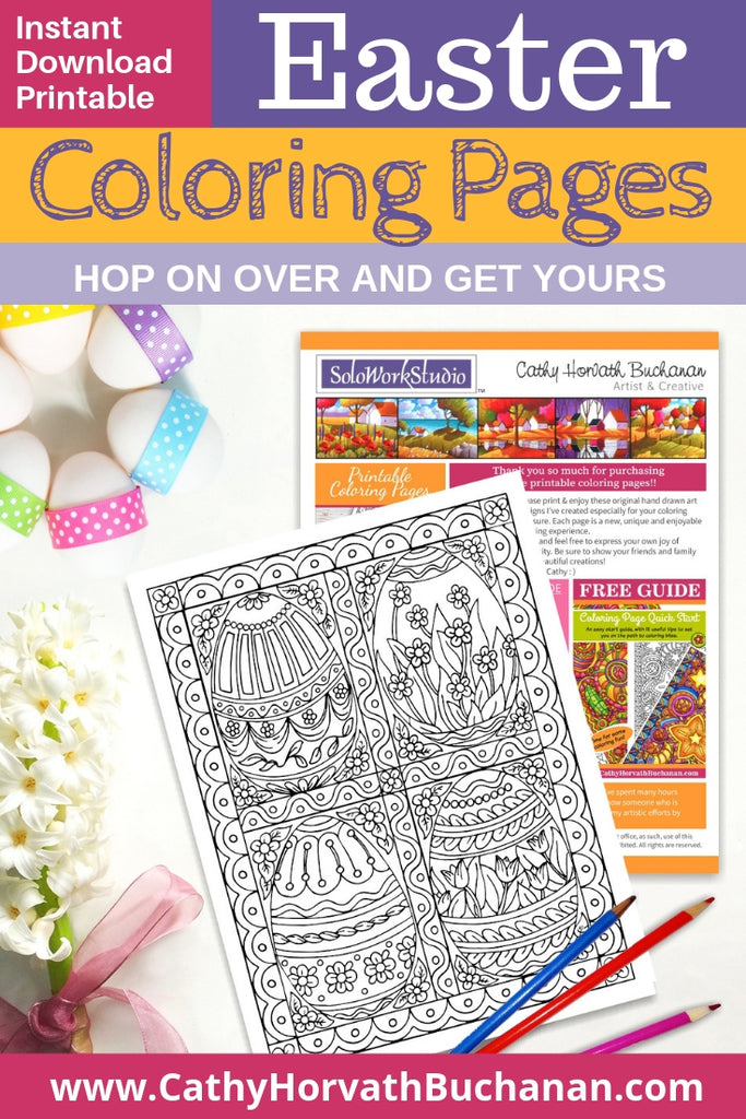 coloring page drawing with four fancy decorated easter eggs and lacy border