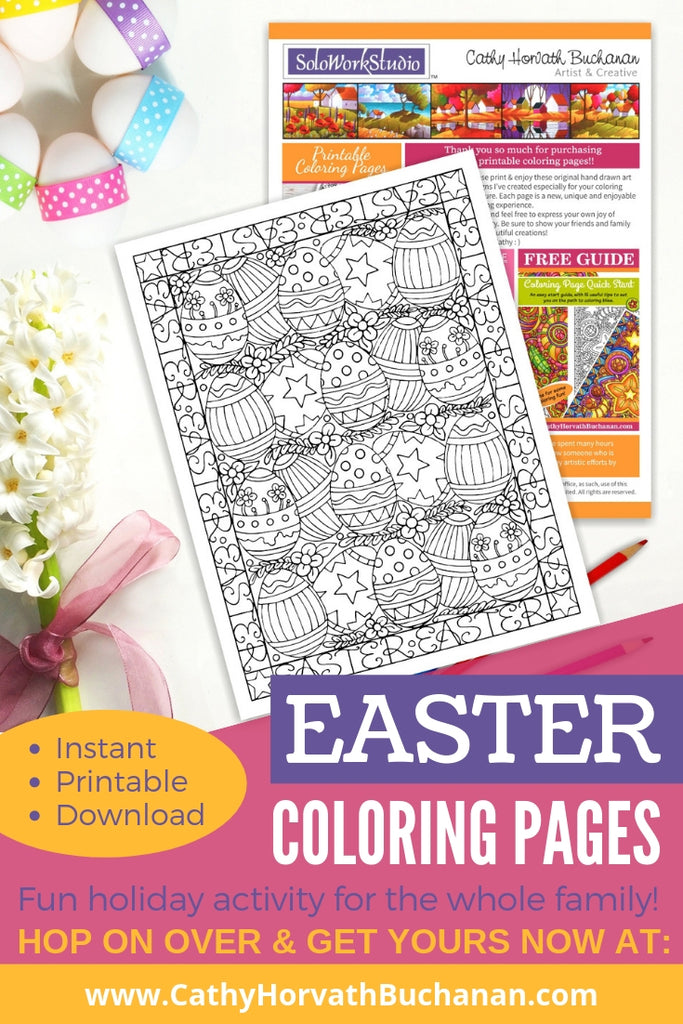 coloring page drawing of rows of decorated Easter eggs and flowers with easter words boarder