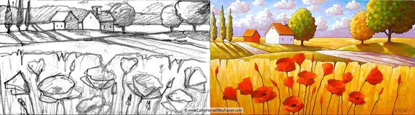 poppies fields landscape sketch and painting by cathy horvath buchanan