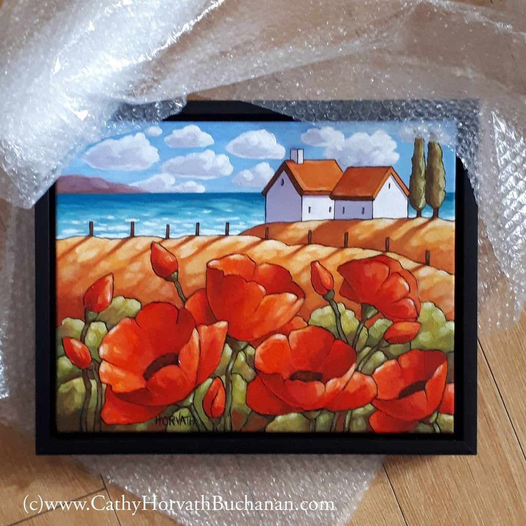 poppies painting in bubble wrap