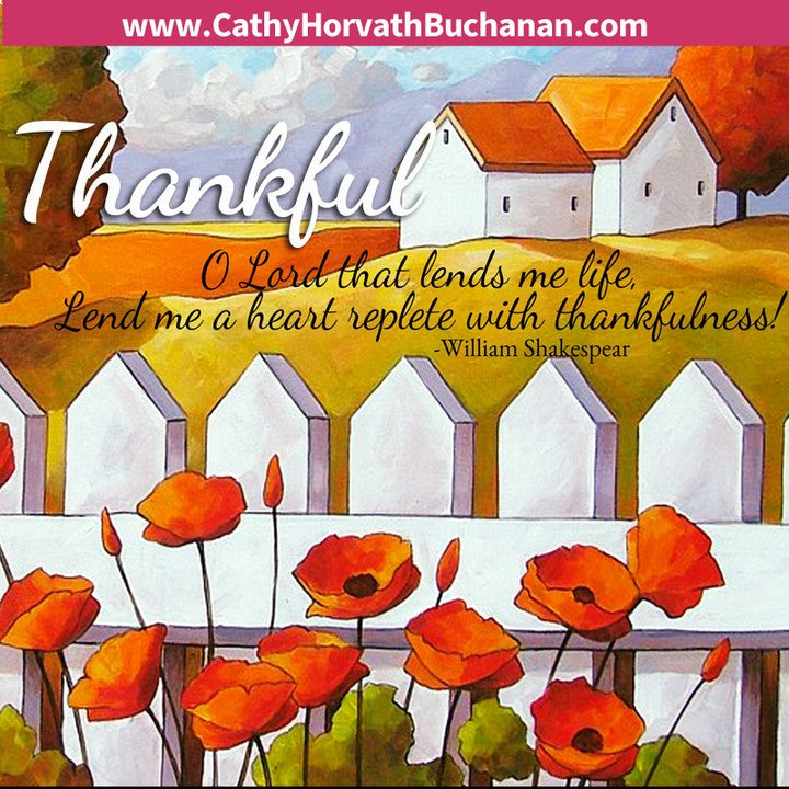 poppies picket fence illustration thankful quote