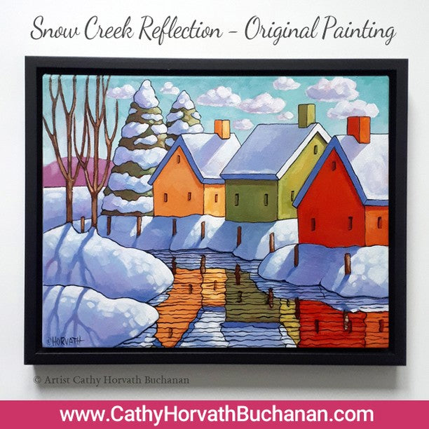 snow river reflection painting
