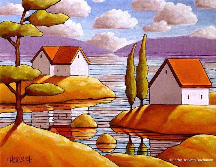 cottages on water art print decor
