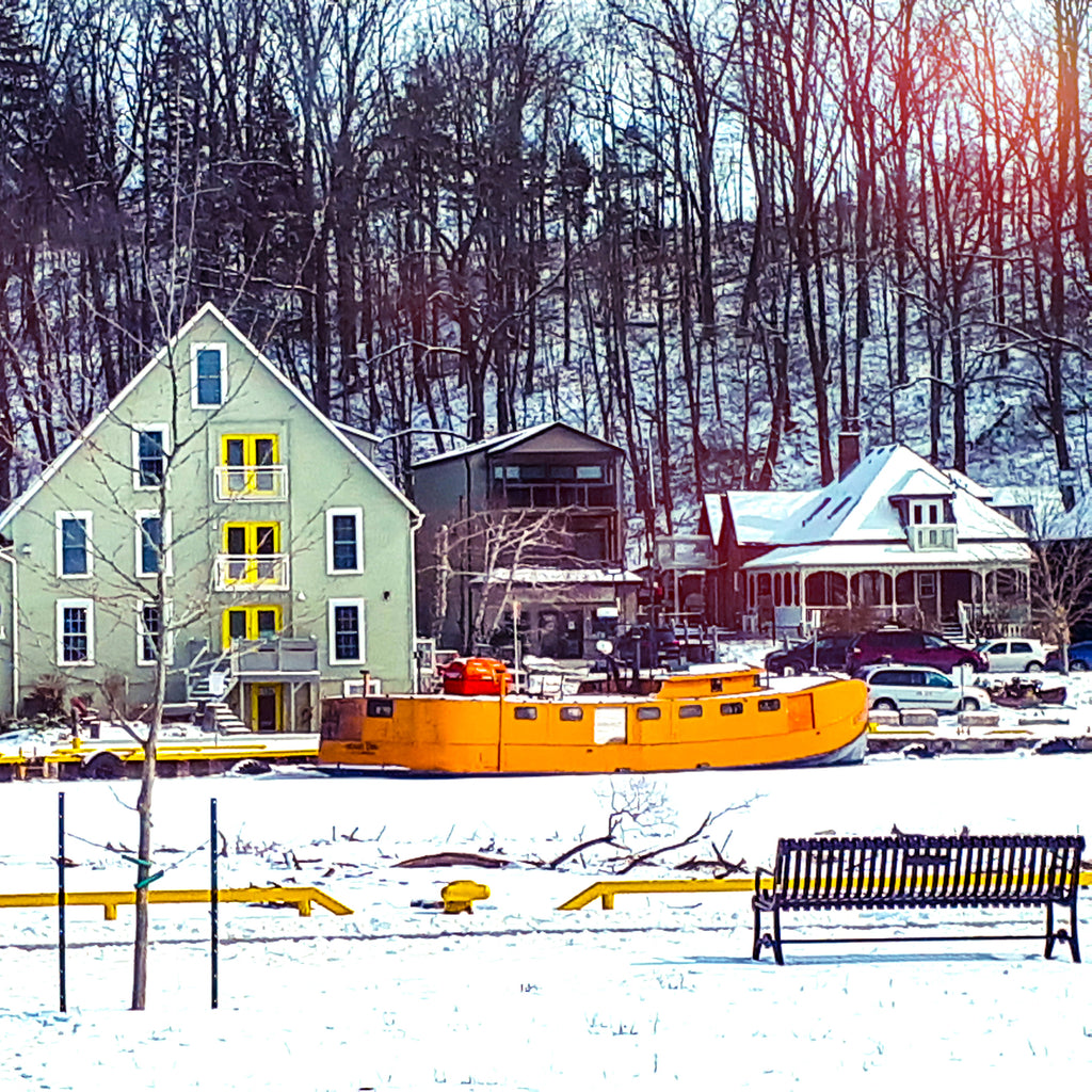 frozen fishing boat harbour