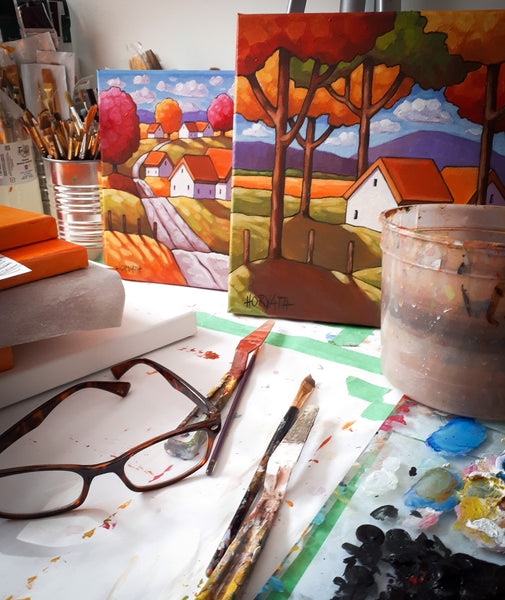 paintings on the table