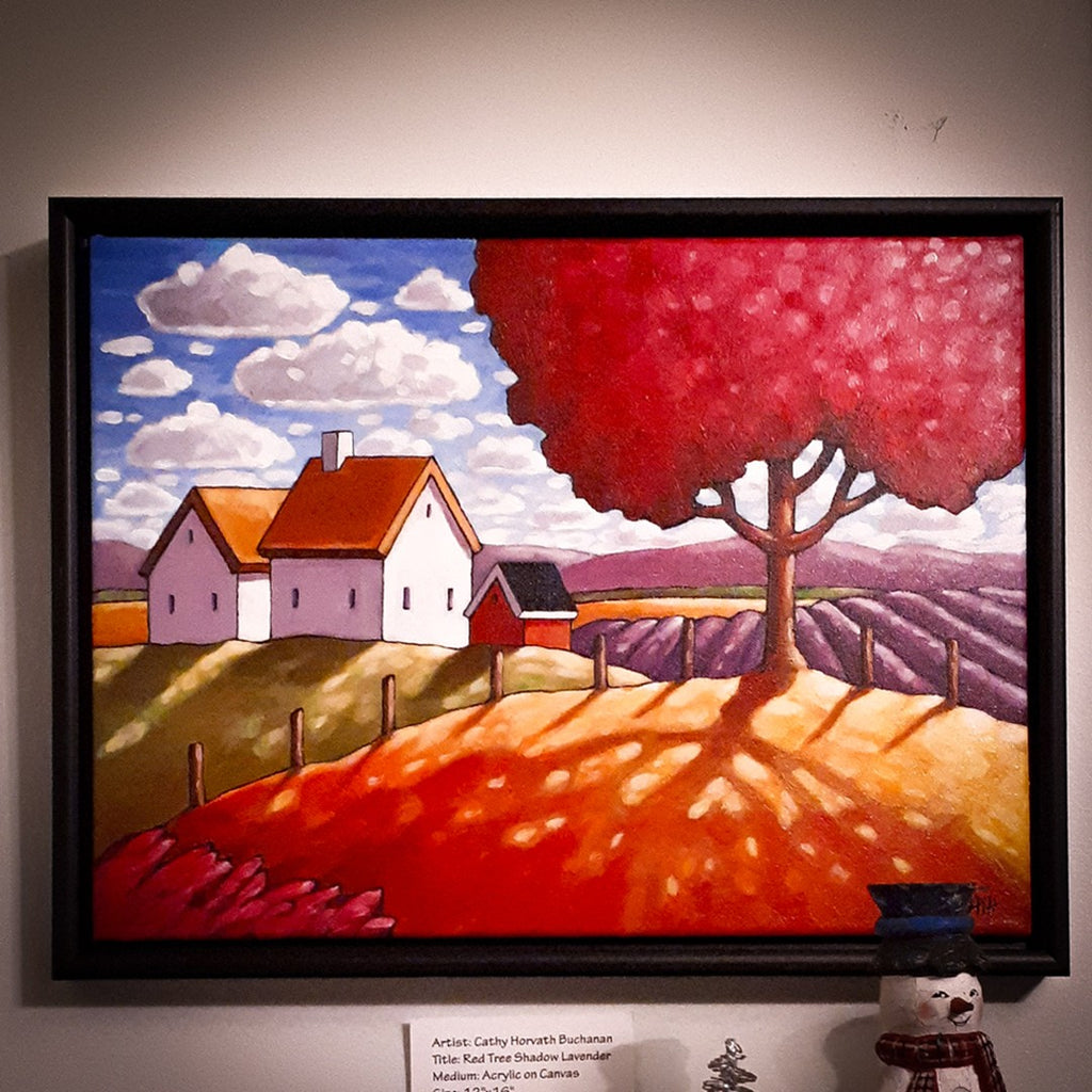 red tree painting art show