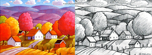 smokey mountains landscape sketch and painting by cathy horvath buchanan