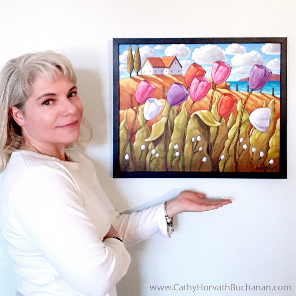 artist cathy horvath buchanan with tulips painting