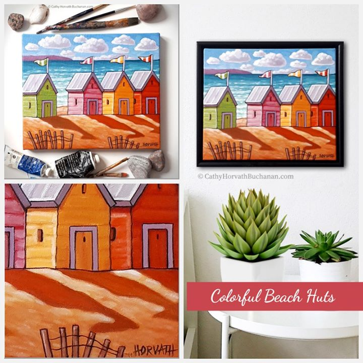 beach huts collage by artist cathy horvath Bbuchanan