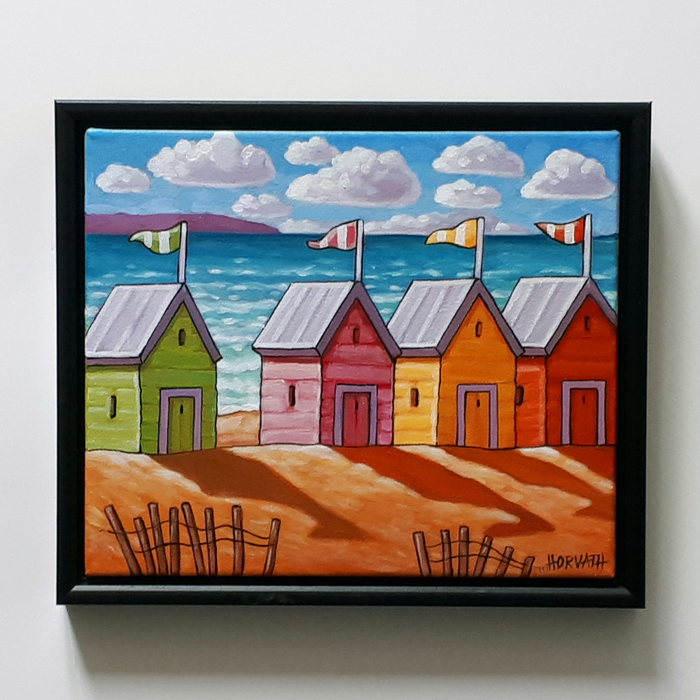 beach huts painting