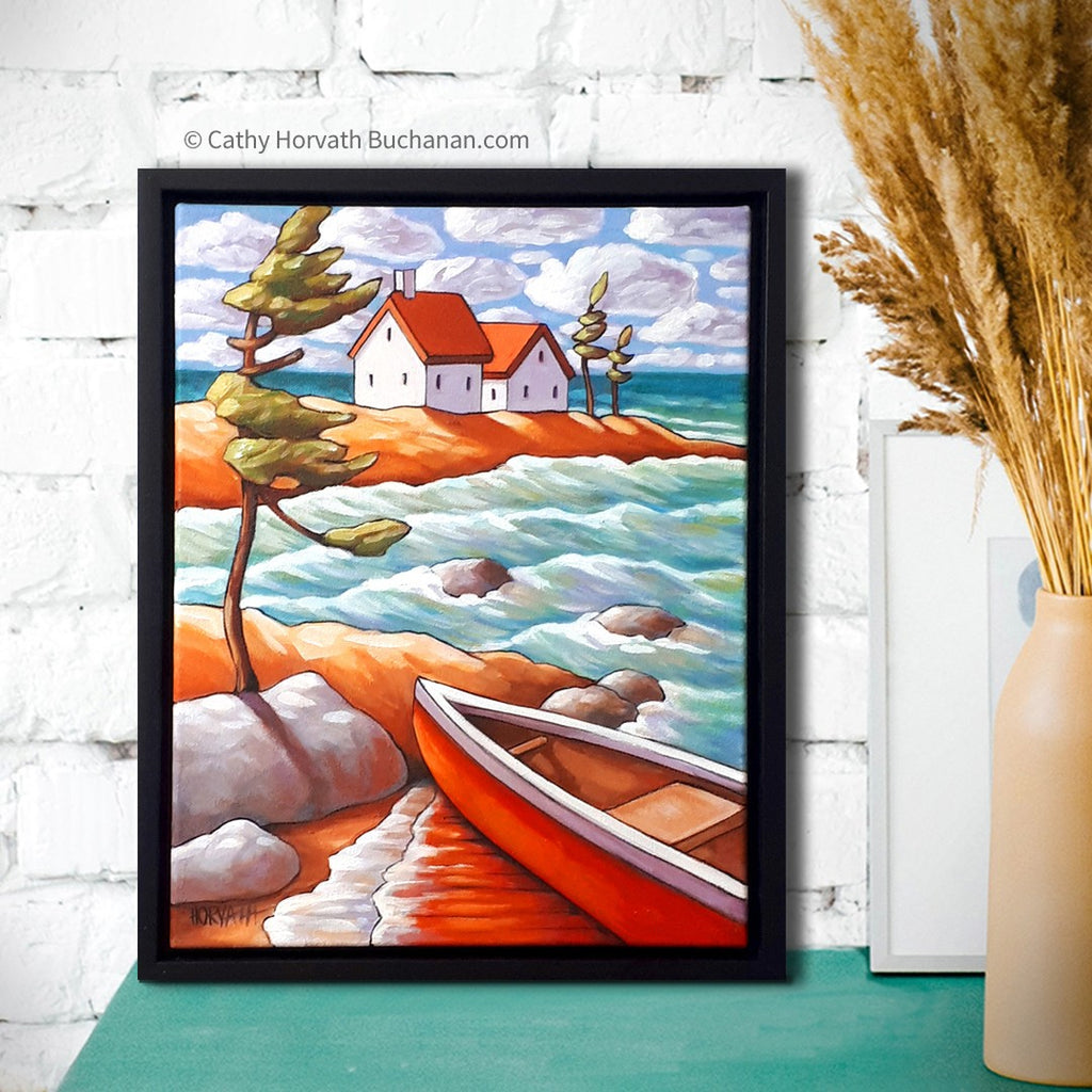 windy canoe waves painting