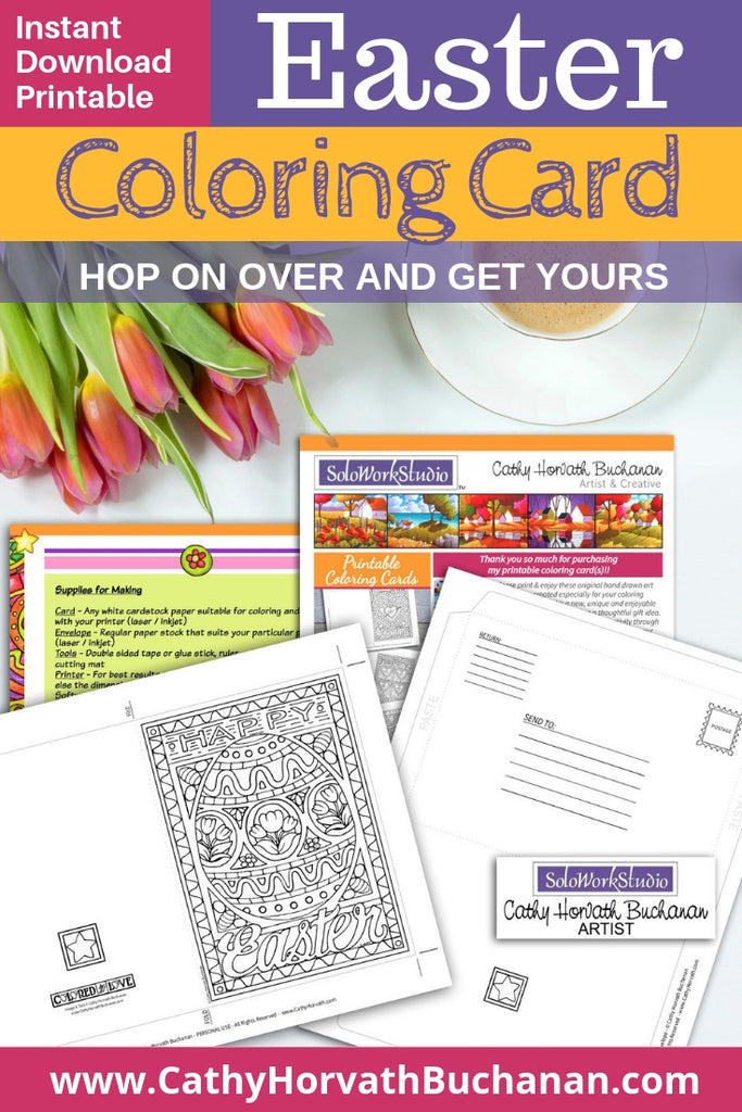 coloring page drawing as a greeting card kit with one large decorated Easter egg and envelope with happy easter text and fancy border
