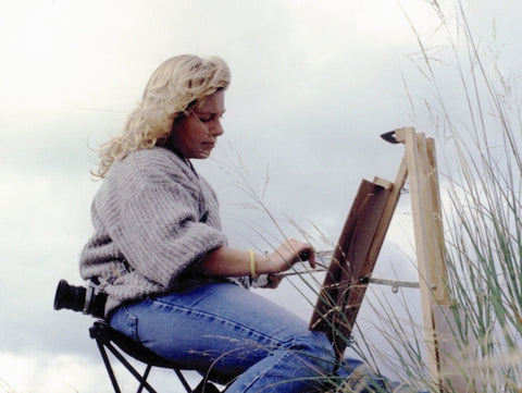 Cathy painting on site