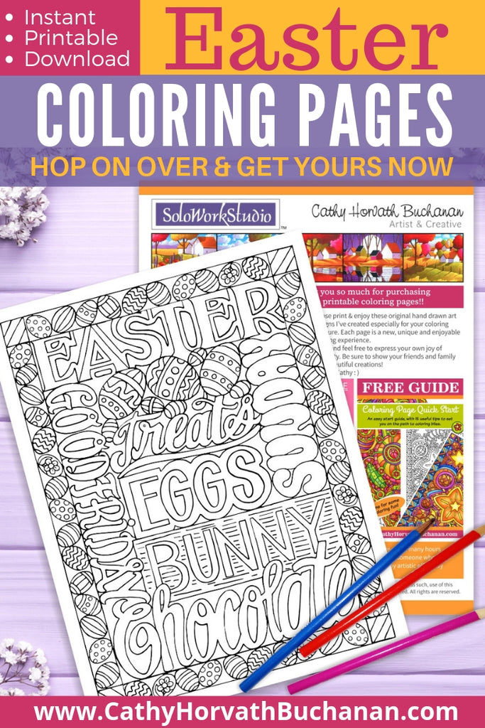 multiple Easter words in a coloring page drawing