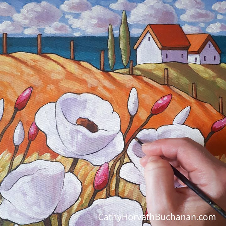 seaside blooms painting in progress