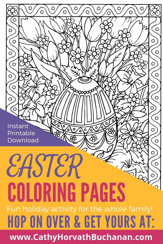 coloring page drawing of a cetral decorated easter eggs with happy easter textand spring flowers with swirly border on a table with tea flowers and coloring pencils