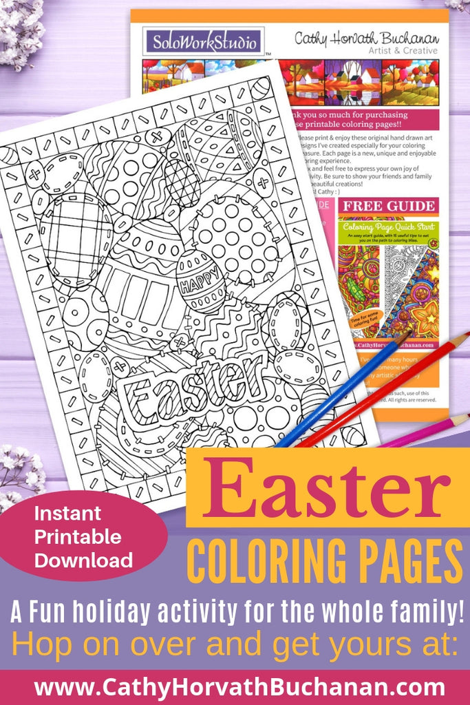 coloring page drawing of assorted sized decorated Easter eggs looks stitched like a quilt with border