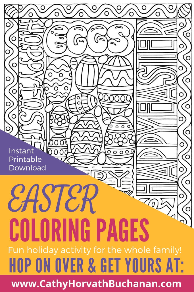 coloring page drawing of easter words and decorated easter eggs with fancy border on a table with tea flowers and coloring pencils