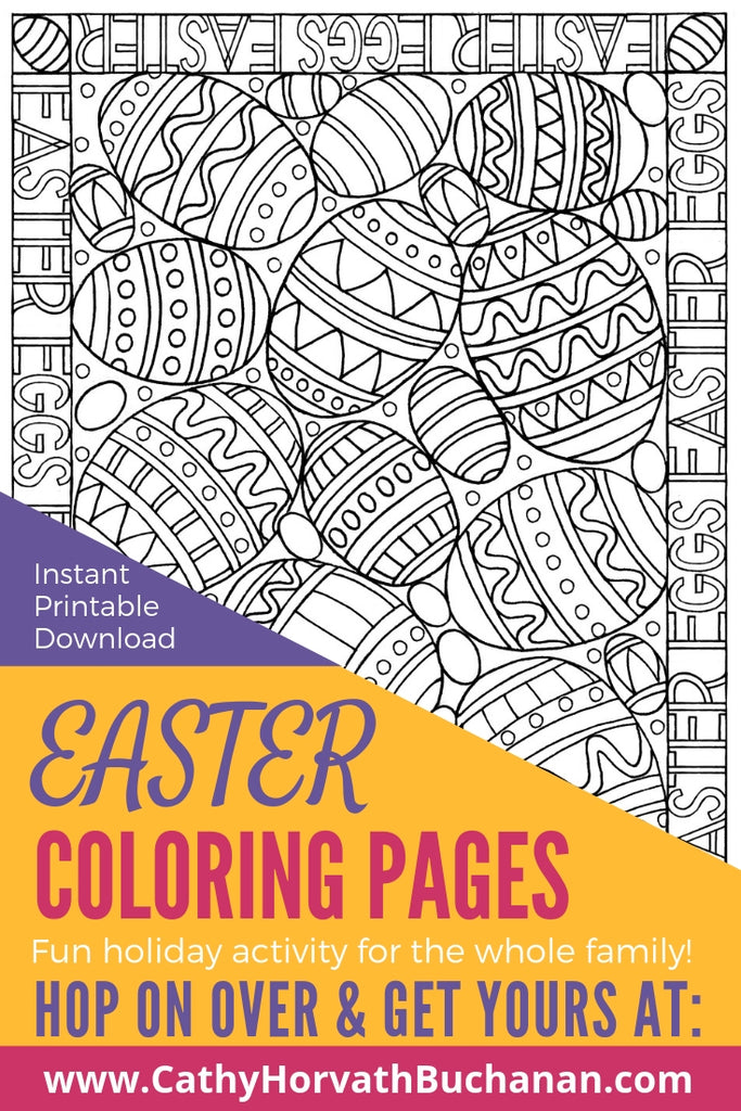 jumble of decorated Easter eggs as a coloring page drawing