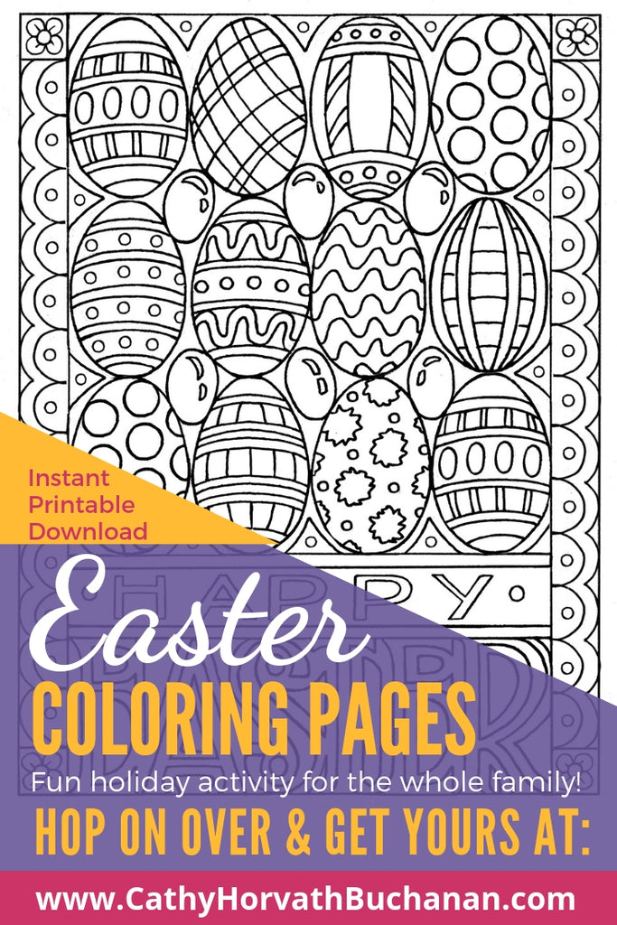 coloring page drawing of rows of decorated easter eggswith happy easter text with border on a table with tea flowers and coloring pencils