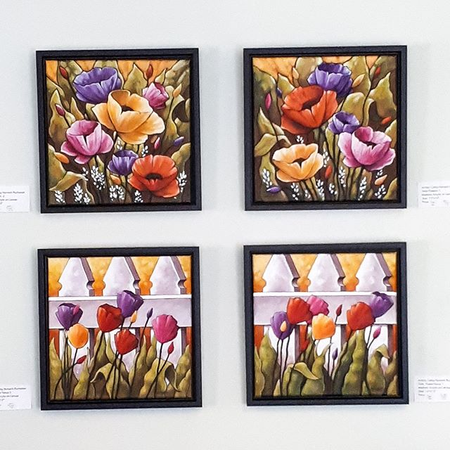 four flower paintings by cathy horvath buchanan