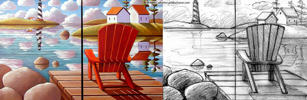 dock chair landscape sketch and painting by cathy horvath buchanan