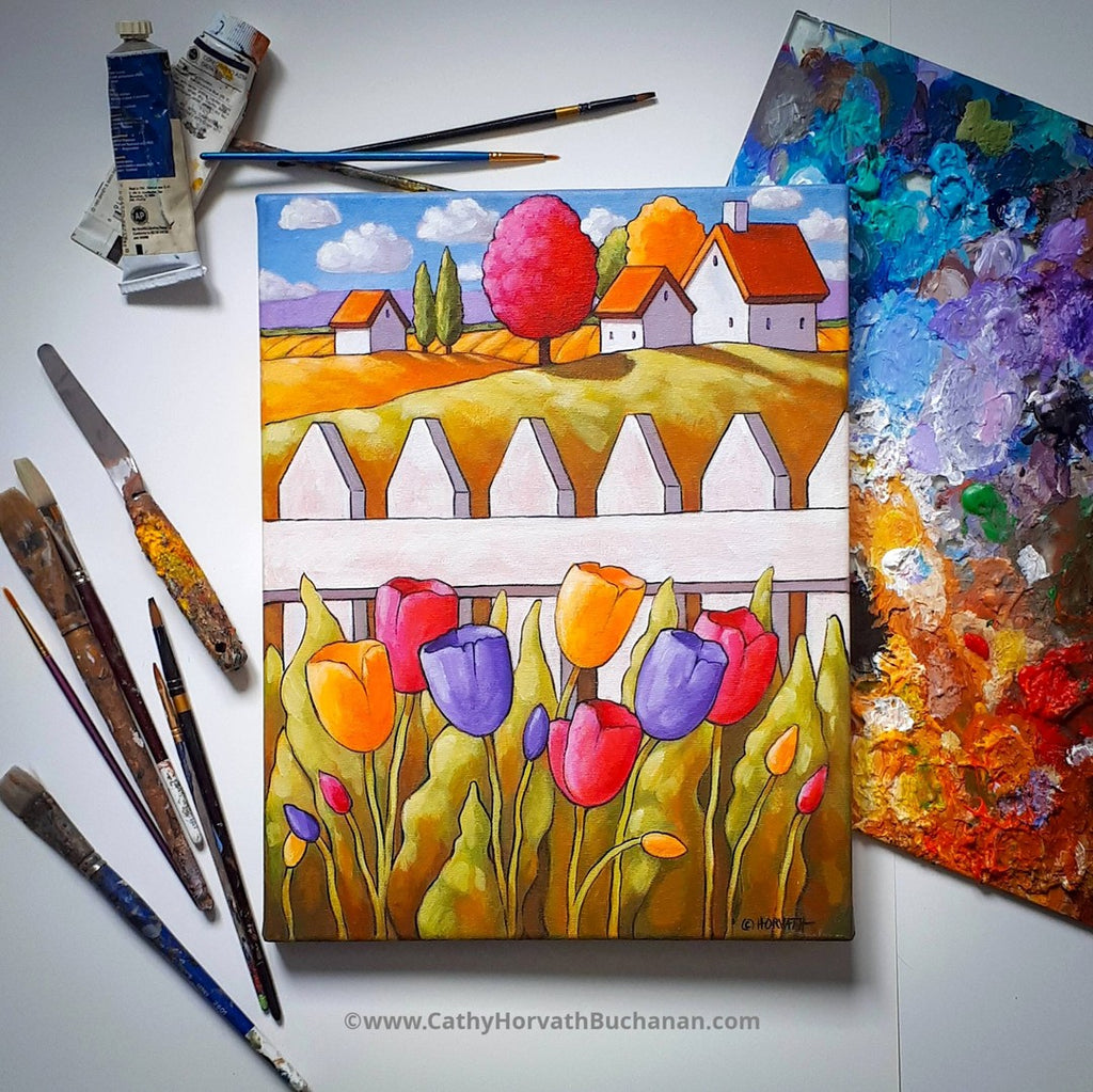 tulips painting with pallete