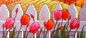 original painting of spring tulips