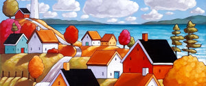 original painting seaside village by artist Cathy Horvath Buchanan