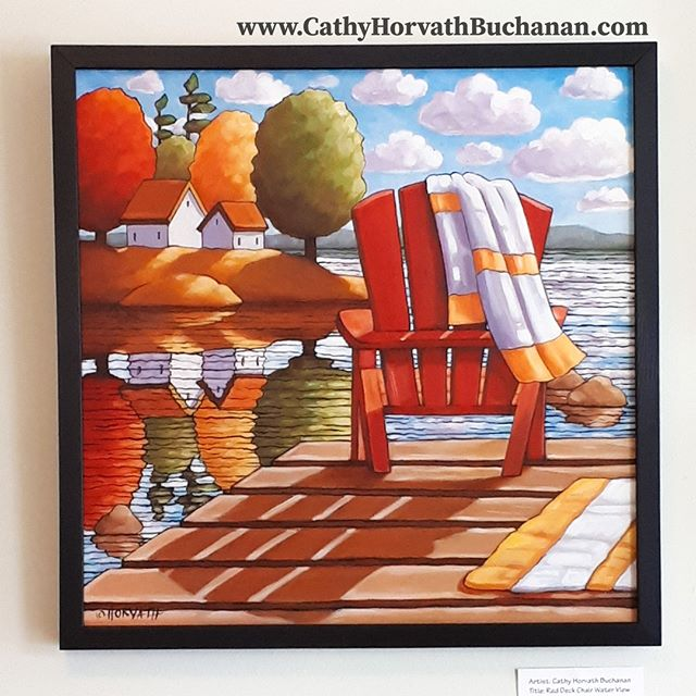red deck chair painting by cathy horvath buchanan