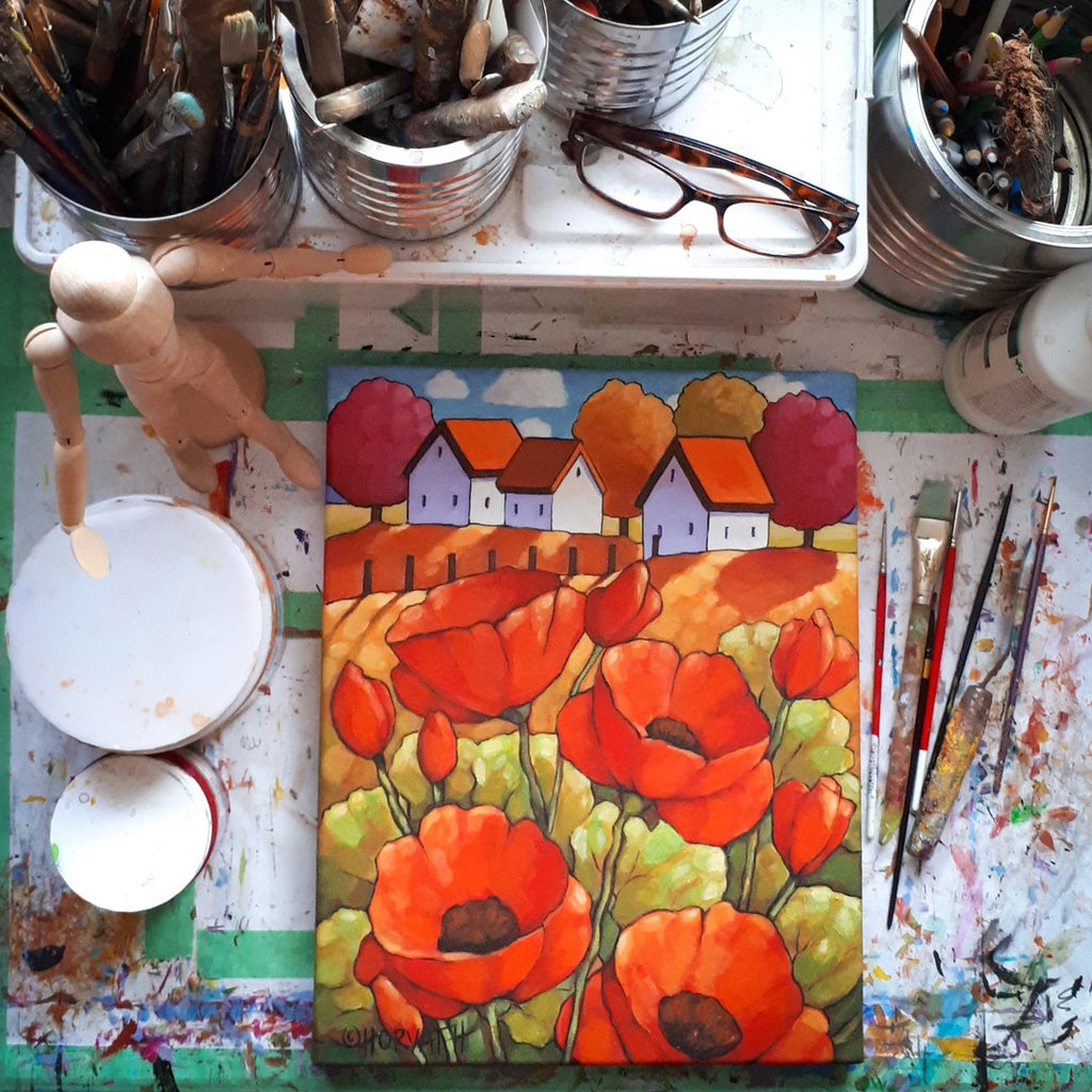 red poppies painting by cathy horvath buchanan