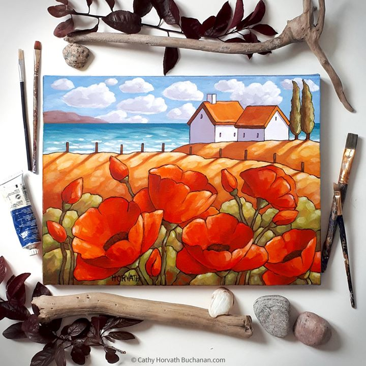 red poppies painting flat lay