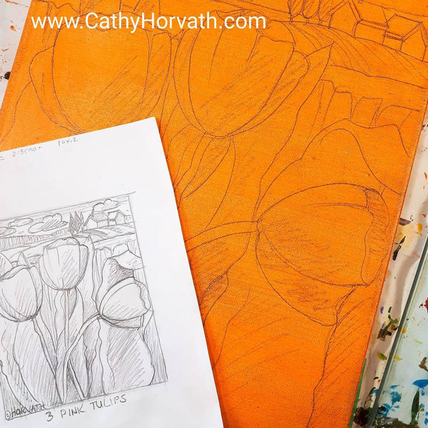 tulips sketch by cathy horvath buchanan