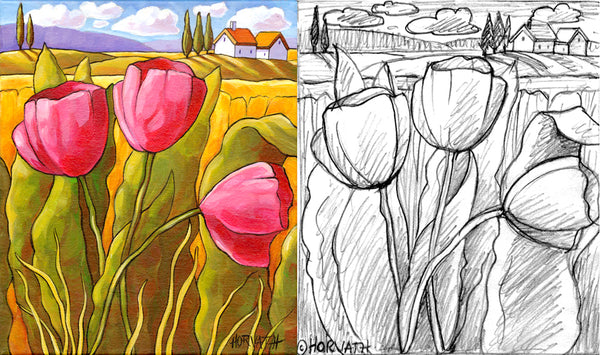 pink tulips landscape sketch and painting by cathy horvath buchanan