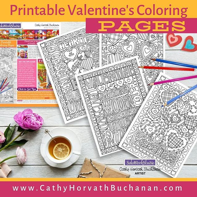 valentines coloring pages by cathy horvath buchanan