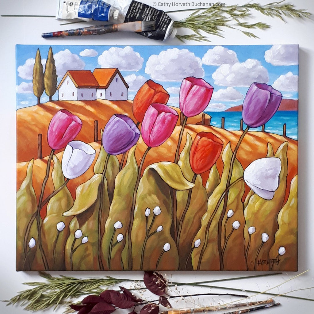 tulip painting by cathy horvath buchanan flat lay