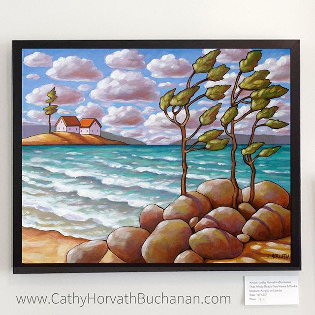 windy beach trees by cathy horvath buchanan