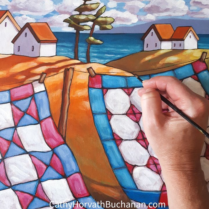 windy quilts painting in progress