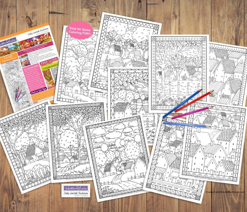 Town Country Folk Art Scenes Coloring Pages 10 Pack , PDF Printable Download