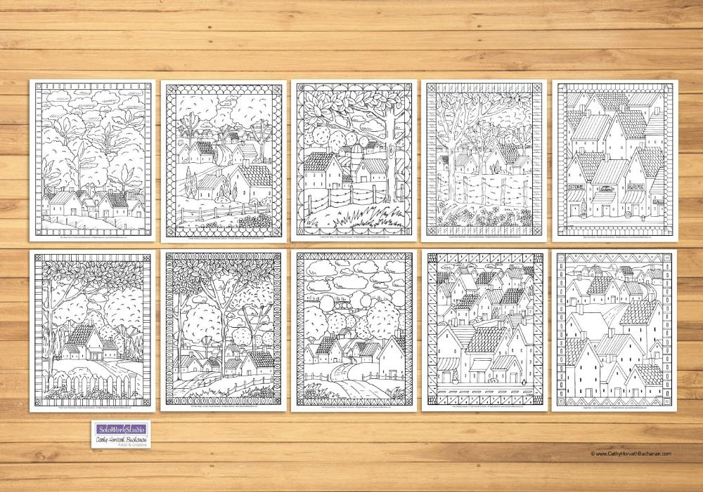 Folk Art Town Country Landscape Coloring Pages 10 Pack