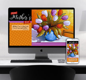 computer monitor and phone with colorful mothers day flowers art by artist Cathy Horvath Buchanan
